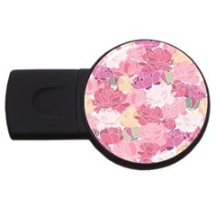 Peonies Flower Floral Roes Pink Flowering USB Flash Drive Round (2 GB)