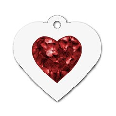 Floral Heart Shape Ornament Dog Tag Heart (One Side)