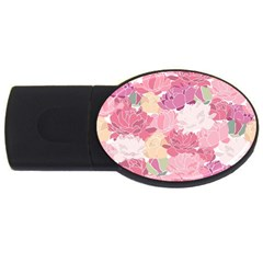 Peonies Flower Floral Roes Pink Flowering USB Flash Drive Oval (2 GB)