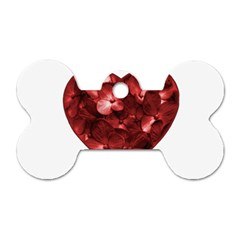 Floral Heart Shape Ornament Dog Tag Bone (Two Sides)