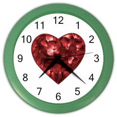 Floral Heart Shape Ornament Color Wall Clocks