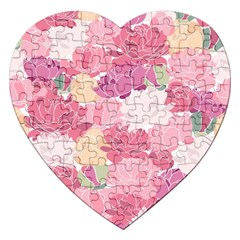 Peonies Flower Floral Roes Pink Flowering Jigsaw Puzzle (Heart)