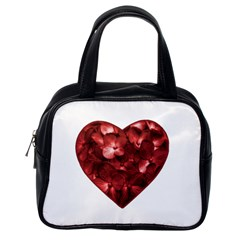 Floral Heart Shape Ornament Classic Handbags (One Side)