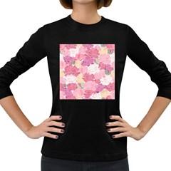 Peonies Flower Floral Roes Pink Flowering Women s Long Sleeve Dark T-Shirts