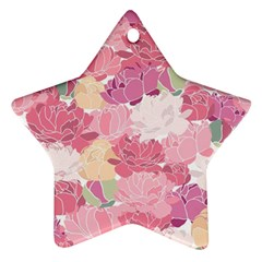 Peonies Flower Floral Roes Pink Flowering Star Ornament (Two Sides)