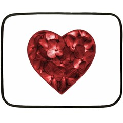 Floral Heart Shape Ornament Double Sided Fleece Blanket (Mini)