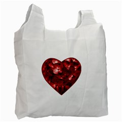 Floral Heart Shape Ornament Recycle Bag (Two Side)