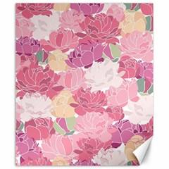 Peonies Flower Floral Roes Pink Flowering Canvas 20  x 24