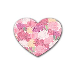 Peonies Flower Floral Roes Pink Flowering Rubber Coaster (Heart)
