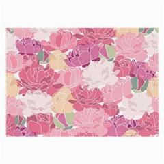 Peonies Flower Floral Roes Pink Flowering Large Glasses Cloth (2-Side)