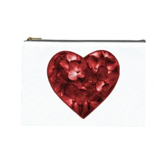 Floral Heart Shape Ornament Cosmetic Bag (Large)