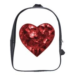 Floral Heart Shape Ornament School Bags(Large)