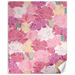 Peonies Flower Floral Roes Pink Flowering Canvas 11  x 14