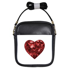Floral Heart Shape Ornament Girls Sling Bags