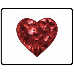 Floral Heart Shape Ornament Fleece Blanket (Medium)