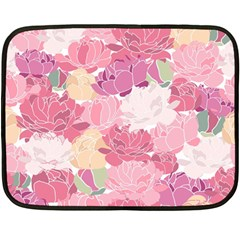 Peonies Flower Floral Roes Pink Flowering Double Sided Fleece Blanket (Mini)