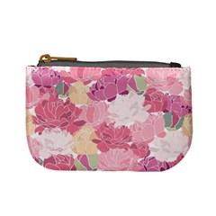 Peonies Flower Floral Roes Pink Flowering Mini Coin Purses