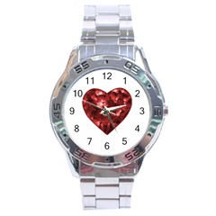 Floral Heart Shape Ornament Stainless Steel Analogue Watch