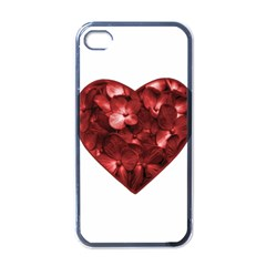 Floral Heart Shape Ornament Apple iPhone 4 Case (Black)