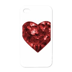 Floral Heart Shape Ornament Apple iPhone 4 Case (White)