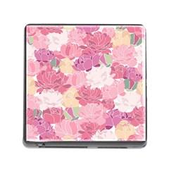 Peonies Flower Floral Roes Pink Flowering Memory Card Reader (Square)