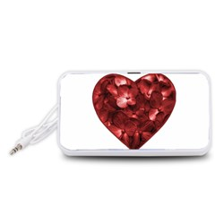 Floral Heart Shape Ornament Portable Speaker (White)