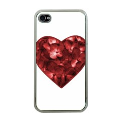 Floral Heart Shape Ornament Apple iPhone 4 Case (Clear)