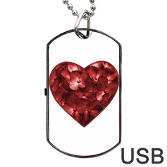 Floral Heart Shape Ornament Dog Tag USB Flash (One Side)