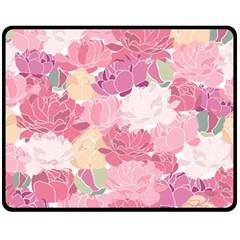 Peonies Flower Floral Roes Pink Flowering Fleece Blanket (Medium)
