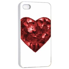 Floral Heart Shape Ornament Apple iPhone 4/4s Seamless Case (White)