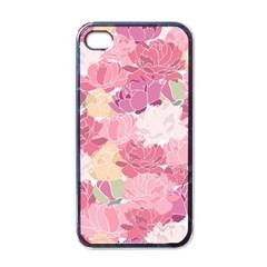 Peonies Flower Floral Roes Pink Flowering Apple iPhone 4 Case (Black)