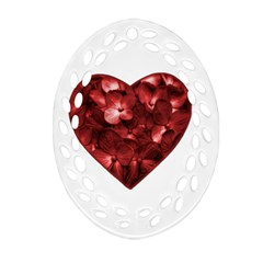 Floral Heart Shape Ornament Oval Filigree Ornament (Two Sides)