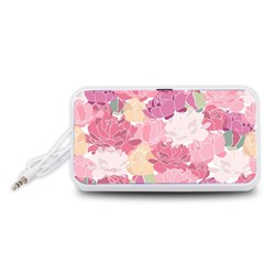 Peonies Flower Floral Roes Pink Flowering Portable Speaker (White)