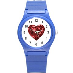 Floral Heart Shape Ornament Round Plastic Sport Watch (S)
