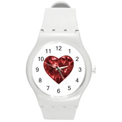 Floral Heart Shape Ornament Round Plastic Sport Watch (M)