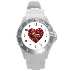 Floral Heart Shape Ornament Round Plastic Sport Watch (L)