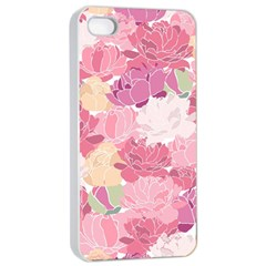 Peonies Flower Floral Roes Pink Flowering Apple iPhone 4/4s Seamless Case (White)