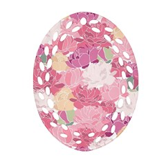 Peonies Flower Floral Roes Pink Flowering Oval Filigree Ornament (Two Sides)