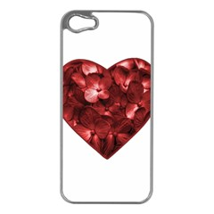 Floral Heart Shape Ornament Apple iPhone 5 Case (Silver)