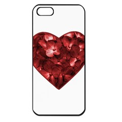 Floral Heart Shape Ornament Apple iPhone 5 Seamless Case (Black)