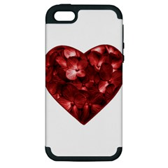 Floral Heart Shape Ornament Apple iPhone 5 Hardshell Case (PC+Silicone)