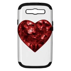 Floral Heart Shape Ornament Samsung Galaxy S III Hardshell Case (PC+Silicone)