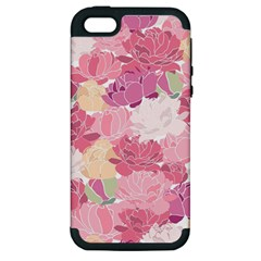 Peonies Flower Floral Roes Pink Flowering Apple iPhone 5 Hardshell Case (PC+Silicone)