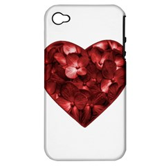 Floral Heart Shape Ornament Apple iPhone 4/4S Hardshell Case (PC+Silicone)