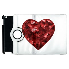 Floral Heart Shape Ornament Apple iPad 2 Flip 360 Case
