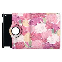 Peonies Flower Floral Roes Pink Flowering Apple iPad 2 Flip 360 Case