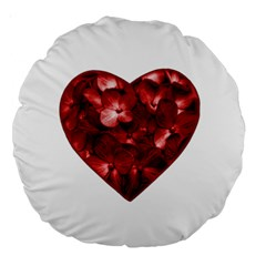 Floral Heart Shape Ornament Large 18  Premium Round Cushions
