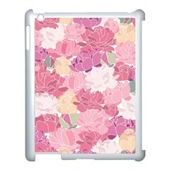 Peonies Flower Floral Roes Pink Flowering Apple iPad 3/4 Case (White)
