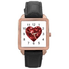 Floral Heart Shape Ornament Rose Gold Leather Watch