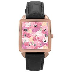 Peonies Flower Floral Roes Pink Flowering Rose Gold Leather Watch